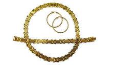 Womens 14K Gold Hugs & Kisses Necklace Bracelet Earring Set -Stainless Steel