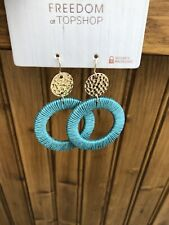 Topshop Freedom Turquoise Dandle Hoop Earrings
