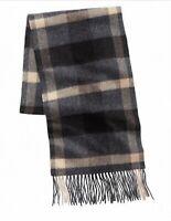 Club Room Mens Beige Black One Size Scarf Plaid Fringe Knit Cashmere $120 097