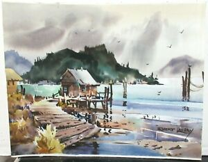 "ROBERT LANDRY ""COOS BAY"" OREGON ORIGINAL WATERCOLOR SEASCAPE PAINTING"
