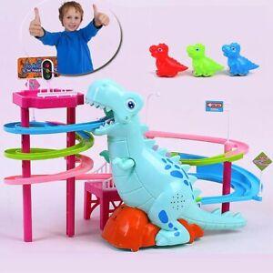 Dinosaurs Music Amusement Puzzle Electric Climb Sliding Railcar Track Kids Toy