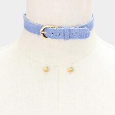 """12"""" blue jean denim buckle choker collar bib necklace .30"""" earrings .75"""" wide 18"""