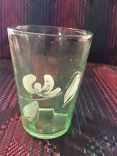 Dogwood Enamel painted green paneled depression drinking glass Vintage