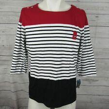 Karen Scott Top Womens Petite XL PXL Black White Red Stripe Pocket Shirt