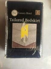 "NEW IN PACKAGE! LUXURY HOTEL Tailored Bedskirt FULL size w/14"" Drop, NAVY Color"