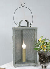Primitive Country Triangle Metal Screen Lamp Vintage Looking Barn Roof Color