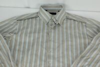 Mens XXL 2XL 7 Diamonds Blue Beige Striped Long Sleeve Button Front Shirt
