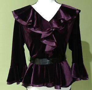 ADRIANNA PAPELL Formal Evening Women's Royal Purple Velour Shirt Size 12