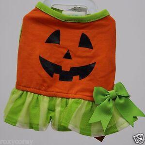 Halloween Martha Stewart Orange Green Pumpkin Pet Dog Tutu Dress Size XSmall