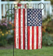 NEW Toland - American Fence - Rustic Patriotic USA Stars Stripes Garden Flag