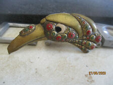 Antique  art deco oriental  ennamel bird brooch