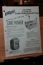 Brochure Sales Flyer ENERGY Live Power Double Outlet Hydraulic Pump Lehr Dist.
