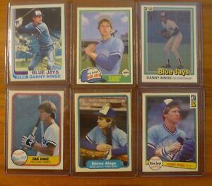 Danny Ainge 6 different baseball card LOT: Toronto Blue Jays (Boston Celtics)