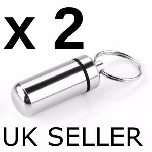2x Keyring Tablets Medicine Container Pill Box Aluminium Key Chain Drug Holder
