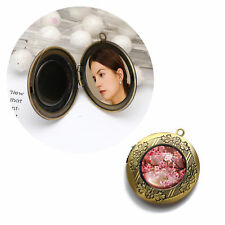 Antique Bronze Round Locket Pendant DIY Can Open Picture Locket Necklace Jewelry