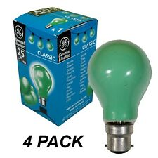 4 x GREEN Coloured Bayonet Party Festoon Light Globes 25W B22 Bulbs Lamps GE