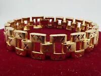 Men Jewellery 18ct Yellow gold Solid Wide 12mm Watch band Women bracelet 8 inch