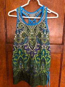 Athleta S Women's Knit Paisley Print  Built in Bra Top-Excellent!