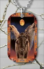 """AMERICAN NATIVE ART WOLF EAGLE DOG TAG NECKLACE 30"""" FREE CHAIN -ct78ja"""