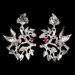 Round Red Ruby 3mm Mm Marcasite 925 Sterling Silver Bird Earrings