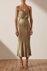 Shona Joy Women's 'Sophia' Bias Cowl Midi Dress in Walnut - Brand New Collection