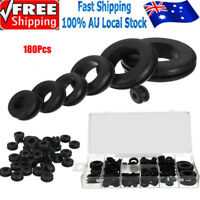 180× Rubber Grommet Firewall Hole Plug Set Electrical Wire Gasket Assortment Kit