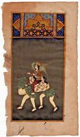 Hand Painted India Miniature Painting Of Lord Kamadev On Composite Camel Of Lady