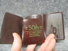 1954 J.W. Loell Erie Pa 50th Anniversary Vinyl Money Holder Small Wallet Brown