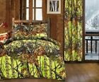 9 pc Lime Yellow Camo Woods Twin Comforter and microfiber sheets curtains