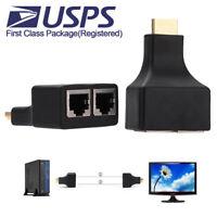 2PCS HDMI To Dual Port RJ45 Cat 5e CAT6 LAN Ethernet Extender Adapter