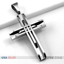 Men's Stainless Steel Plain Silver Tone Strips Bars Large Cross Pendant Heavy 5E