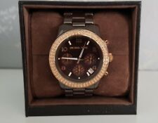 Michael Kors MK5517 Women's Runway Mid Brown Ceramic Chronograph Wrist Watch