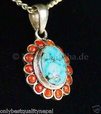 Türkisschmuck Amulett Silber Schmuck Nepal Edelsteine Türkis Damenschmuck 33