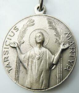 St. Tarcisius 1962 International Youth Pilgrimage to Rome Silver HOLY MEDAL Fob