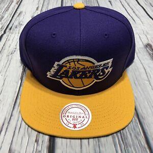 Los Angeles Lakers Classic Mitchell & Ness Snapback Hat Purple Gold Big Logo New
