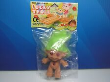 "GREEN HAIRED 3"" Lucky Troll Doll - NEW IN PACKAGE - Very Rare"