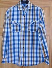 Men's Blue Checked Long Sleeve Cherokee Shirt Size M