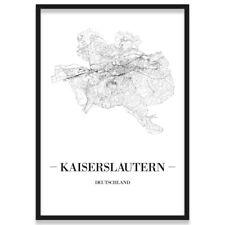 JUNIWORDS Stadtposter, Kaiserslautern, Weiß, Kunstdruck Plan Map