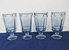 FOOTED ICED TEA TUMBLER VIRGINIA LIGHT BLUE BY FOSTORIA  HEAVY PRESSED 4 LOT