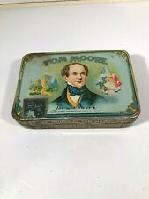 ANTIQUE TOM MOORE TIN LITHO CIGAR TIN VINTAGE COUNTRY STORE TOBACCO MICHIGAN