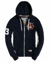 New Mens Superdry Track & Field Lite Zip warm premium Hoodie Academy Navy XL