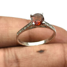 Natural Gomed Gemstone Solid 925 Fine Sterling Silver Diamond Engagement Ring