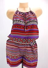 She's Cool Romper Size Large Juniors Red Purple Eastic Waist Ties Festival BOHO