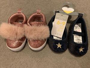 Primark Baby Girls New Shoes 6-9m 2 Pairs Glitter