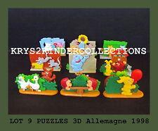 Lot Jouet kinder 9 Puzzles 3D histoires dans le jardin Allemagne 1998 + 1 BPZ