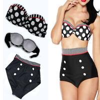 Women Retro Bikini Swimsuit Padded Top High Waist Bottom Vintage Pinup Swimwear