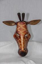 "Hand Carved Wood 10"" Giraffe Head Wall Hanging Ex"