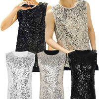 Mens Sequins Tank Tops Camisole Vest Bling Glitter Shiny Punk Sleeveless T Shirt
