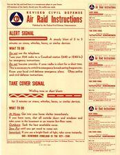 CIVIL DEFENSE CD AIR RAID 1955 ERA AIR RAID INSTRUCTION CARD