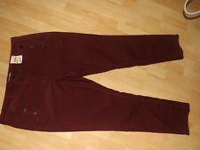 M&s per Una Burgundy Soft Cord Slim Leg Trousers Size 18l 18 L Long